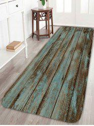 Vintage Wood Grain Printed Bathroom Rug - GREEN