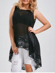 Lace Spliced Extra Long Plus Size Tops -