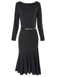 Boat Neck Long Sleeve Bodycon Mermaid Dress - BLACK L