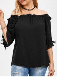 Split Sleeve Plus Size Off The Shoulder Top