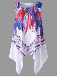 Feather Print Plus Size Tunic Top