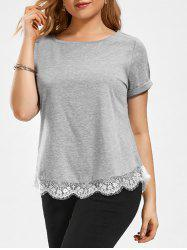 Plus Size Eyelash Lace Panel T-shirt