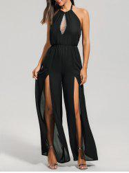 High Slit Elastic Waist Sleeveless Halter Jumpsuit