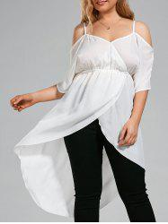 Plus Size Open Shoulder Long Chiffon High Low Top
