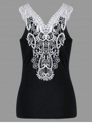 Cutwork Lace Trim Slim Tank Top