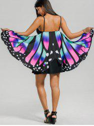 Butterfly Capelet Mini Slip Dress - COLORMIX