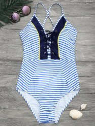 Criss Cross Striped Halter One Piece Swimwear