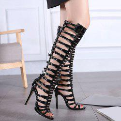 Zipper Buckle Straps Stiletto Heel Sandals