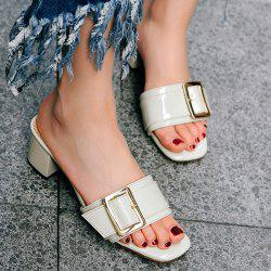Buckle Strap Chunky Heel Slides
