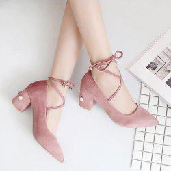 Lace Up Pointed Toe Pumps - PINK