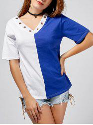 Color Block Off Shoulder V Neck T-Shirt