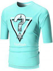 Half Sleeve High Low Graphic Tee - BLUE GREEN L