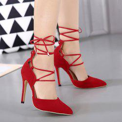 Stiletto Heel Lace Up Pointed Toe Pumps - RED 39
