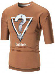 Half Sleeve High Low Graphic Tee - BROWN 2XL