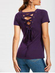Lace Up Back Short Sleeve T-Shirt