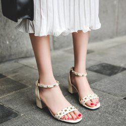 Chunky Heel Stud Ankle Strap Sandals