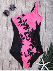 Floral One Shoulder Two Tone Swimwear