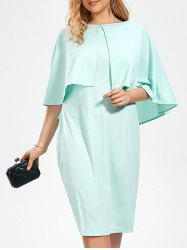Plus Size Sleeveless Bodycon Dress and Ruffle Cape