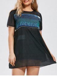 Plus Size Semi Sheer Organza Mini A Line Dress