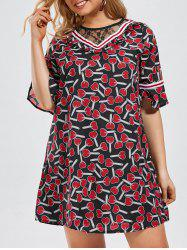 Printed Bell Sleeve Plus Size Mini Dress