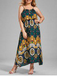 Plus Size Spaghetti Strap Printed Maxi Holiday Dress