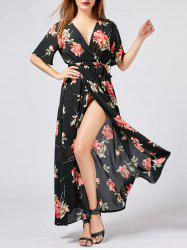 V Neck High Slit Floral Maxi Beach Dress