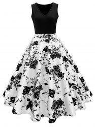 High Waisted Printed Vintage Dress -