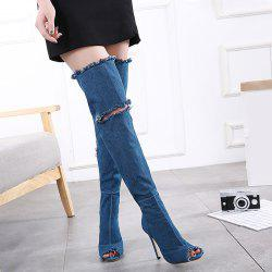 Zipper Denim Stiletto Heel Peep Toe Shoes