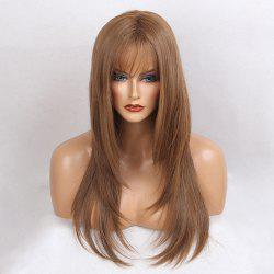 Long Inclined Bang Silky Straight Synthetic Wig