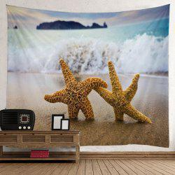 Beach Wave Starfish Tapisserie d'art murale - Bleu Clair