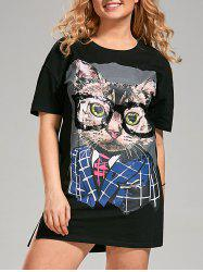 Sequin Funny Cat Plus Size T-shirt Dress