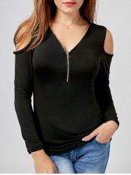 Front Zipper Cold Shoulder Top