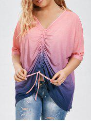 Ruched Ombre Color Plus Size Tunic Top - PINK 2XL