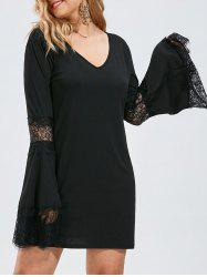 Bell Sleeve Lace Crochet Panel Plus Size Tee Dress