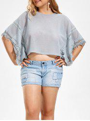 Plus Size Bat-sleeve T-shirt with Tassel Panel