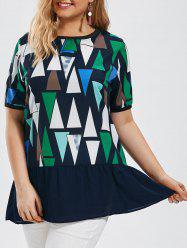 Plus Size Geometric Print Tunic Top