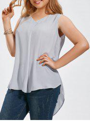 V Neck High Low Hem Plus Size Blouse