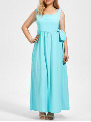 Plus Size Midi Sleeveless Flare Dress with Belt