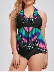Plus Size Ruffle Panel Halter Tankini Set