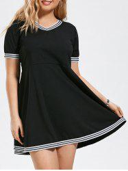 Stripe Panel V Neck Plus Size Fit and Flare Dress