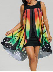 Front Slit Butterfly Shape Flowy Sleeveless Dress - COLORMIX M