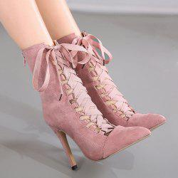 Stiletto Heel Tie Up Short Boots - PINK