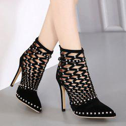Studded Hollow Out Ankle Boots -