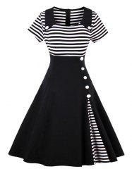 Vintage Buttoned Stripe Pin Up Dress - BLACK