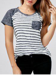 Striped Raglan Sleeve Pocket T-shirt