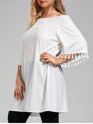 Tassel Ruffle Chiffon Off The Shoulder Plus Size Top