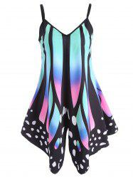 Asymmetric V Neck Butterfly Print Slip Top - BLACK
