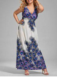 Peacock Feather Print Plus Size V Neck Maxi Dress - MULTI