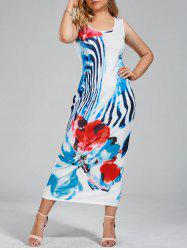Floral Printed Plus Size Maxi Tank Dress