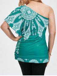 One Shoulder Floral Butterfly Sleeve Plus Size Top